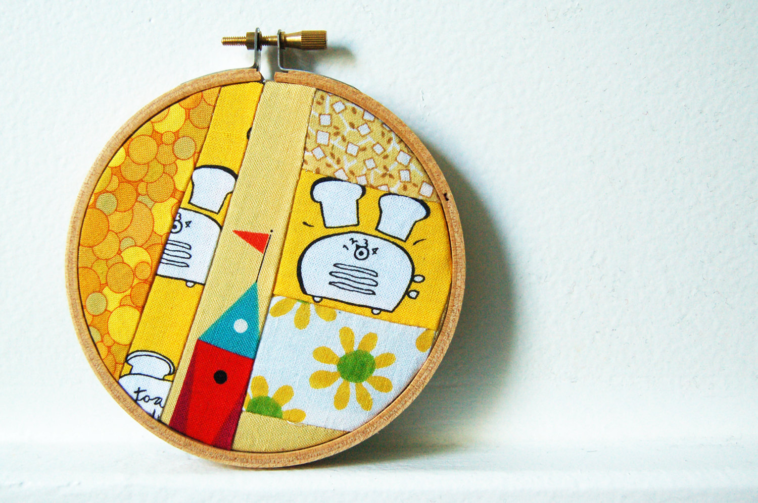 Embroidery Hoop Wall Art. Patchwork Fabric Circle. Whimsical Yellow ...